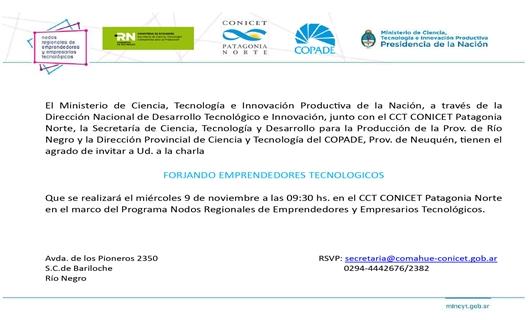 Invitación Charla Forjando Emprendedores 09-11-16